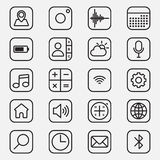 L'ensemble d'applications mobiles décrivent l'illustration d'icône de style Photos stock