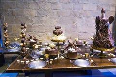 L'ensemble d'appui verticaux de Harry Potter And The Goblet de Noël du feu Photo stock