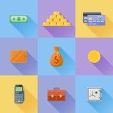L'ensemble d'argent, financent les icônes plates Illustration de vecteur illustration de vecteur