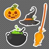 L'ensemble d'autocollants Halloween a rapporté des objets et des créatures illustration libre de droits