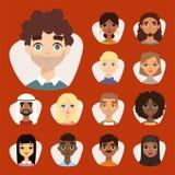 L'ensemble d'avatars ronds divers avec le massage facial comporte différents caractères de vêtements de nationalités et de person illustration de vecteur