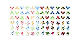 L'ensemble d'ensemble de symbole multicolore géométrique minimal forme Icônes et logotypes à la mode Les affaires signent des sym Image stock