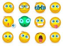 L'ensemble d'Emoji font face à des icônes d'émotion d'isolement Illustration de vecteur Photos stock