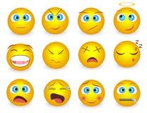 L'ensemble d'Emoji font face à des icônes d'émotion Illustration de vecteur Photo libre de droits