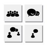 L'ensemble d'entretien de personnes discutent le rassemblement - dirigez les icônes Images libres de droits