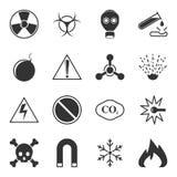 L'ensemble d'icônes d'avertissement de vecteur sur un fond blanc, contiennent des signes de danger, la toxicité, l'explosivity et illustration stock