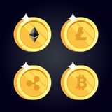 L'ensemble d'icônes Litecoin, ondulation, Ethereum, bitcoin invente illustration stock