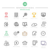 L'ensemble d'icônes audacieuses de la course SEO et du développement a placé 2 Images libres de droits