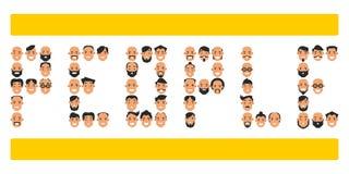 L'ensemble d'icônes avec le ` s de personnes se dirige Collection de charac différent illustration libre de droits