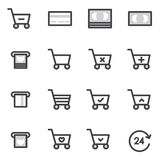 L'ensemble d'icônes d'achats de course d'ensemble dirigent l'illustration Photographie stock