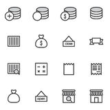 L'ensemble d'icônes d'achats de course d'ensemble dirigent l'illustration Image stock