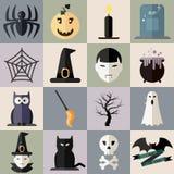 L'ensemble d'icônes de Halloween dénomment la conception plate 1 Illustration Libre de Droits