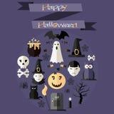 L'ensemble d'icônes de Halloween dénomment la conception plate 2 Illustration de Vecteur