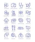 L'ensemble d'icônes médicales, ligne de vecteur signe Image stock