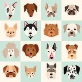 L'ensemble d'icônes mignonnes de chiens, dirigent les illustrations plates Images stock