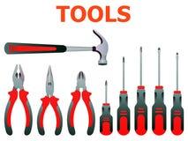 L'ensemble d'illustration de vecteur a isolé des icônes établissant la réparation d'outils illustration de vecteur