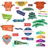 L'ensemble d'illustration de vecteur de label de vintage, l'insigne d'autocollant d'étiquette de bannière et les rubans conçoiven illustration stock