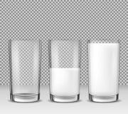 L'ensemble d'illustrations réalistes de vecteur, icônes, les verres en verre vident, à moitié plein et plein du lait, laitages Photo stock