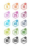 L'ensemble d'insignes colorés noirs de vendredi d'autocollants de vente étiquettent le prix de signe de vente au détail de symbol Image stock