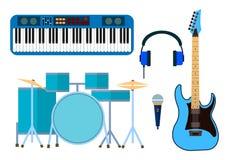 L'ensemble d'instruments de musique plats modernes et de musique de conception usine l'illustration de vecteur d'icônes illustration stock