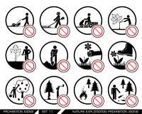 L'ensemble d'interdiction d'exploitation et de culture de nature signe Photographie stock libre de droits