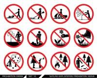 L'ensemble d'interdiction d'exploitation et de culture de nature signe Image libre de droits