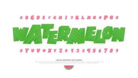 L'ensemble d'italiques a stylisé des lettres et des nombres d'alphabet Image libre de droits