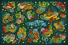 L'ensemble de bande dessinée de griffonnage de nouvelle année et de Noël objecte illustration de vecteur