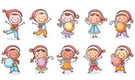L'ensemble de bande dessinée heureuse badine dans des chapeaux de Santa et avec des ornements de Noël illustration stock