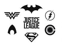 L'ensemble de bandes dessinées de C.C de League de justice noircissent des logos illustration stock