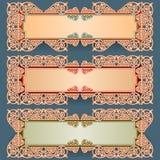 L'ensemble de bannières avec le vintage, ornamental, arabesques conçoivent Photos libres de droits