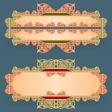 L'ensemble de bannières avec le vintage, ornamental, arabesques conçoivent Images libres de droits