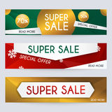 L'ensemble de bannières de Noël de vente conçoivent, des remises et offre spéciale Images stock