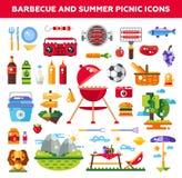 L'ensemble de barbecue plat de conception et l'été pique-niquent illustration libre de droits