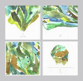 L'ensemble de belles cartes de place d'aquarelle sur l'aquarelle a donné au livre blanc une consistance rugueuse avec l'endroit p Images stock