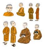 L'ensemble de Bhikkhuni sont entièrement nonne bouddhiste ordonnée Illustration de Vecteur