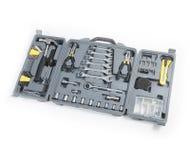 L'ensemble de boîte à outils d'outils incluent le sortilège de pinces de conducteur de peu de clé de marteau Images libres de droits