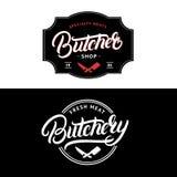L'ensemble de boucher Shop et la boucherie remettent écrit la lettre du logo, label, insigne, emblème illustration libre de droits