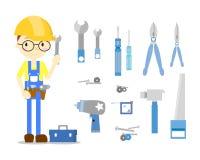 L'ensemble de bricoleur de technicien illustration libre de droits