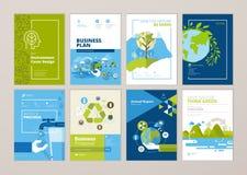 L'ensemble de brochure et la couverture de rapport annuel conçoivent des calibres de nature, environnement, énergie renouvelable, illustration de vecteur