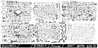 L'ensemble de bulle de flèche d'affaires gribouille eps10 Images libres de droits