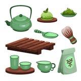 L'ensemble de cérémonie de thé, les symboles de temps de thé et la bande dessinée d'accessoires dirigent des illustrations illustration libre de droits