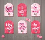 L'ensemble de cadeau de jour du ` s de Valentine étiquette Photographie stock libre de droits