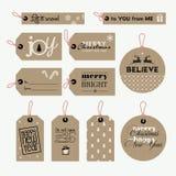 L'ensemble de cadeau de Noël et de nouvelle année étiquette Images stock