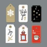 L'ensemble de cadeau mignon de Noël étiquette, des labels, illustrations tirées par la main, conception plate Image stock