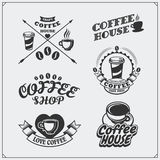L'ensemble de café badges, des labels et des éléments de conception Le café symbolise des calibres illustration libre de droits