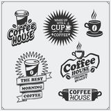 L'ensemble de café badges, des labels et des éléments de conception Le café symbolise des calibres illustration de vecteur