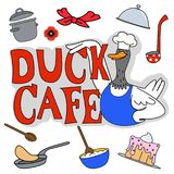 L'ensemble de café de canard Photo stock