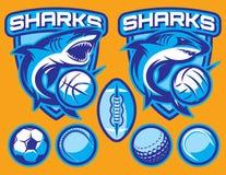 L'ensemble de calibres de vecteur pour des sports badges avec des requins et des boules Image stock