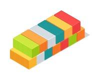 L'ensemble de cargaison enferme dans une boîte la livraison isométrique du récipient 3d Photo libre de droits